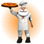 Chef Santa with Pizza & Tray