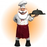 Chef Santa with Dish & Tray