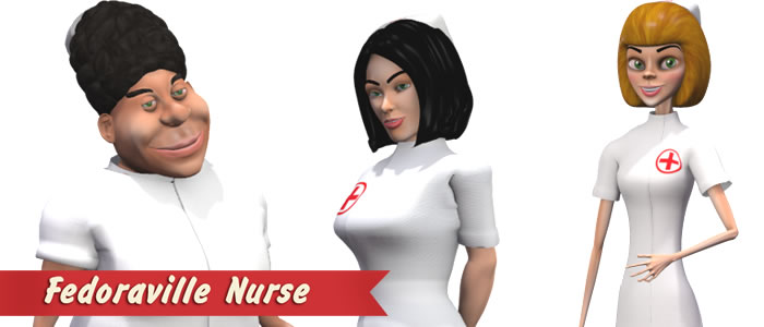 Fedoraville Nurse for Poser and DAZ Studio
