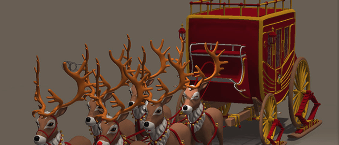 Christmas Stagecoach with Toon Reindeer