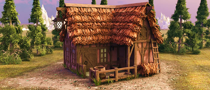 Builder's Medieval Inn & Stable 3D Model