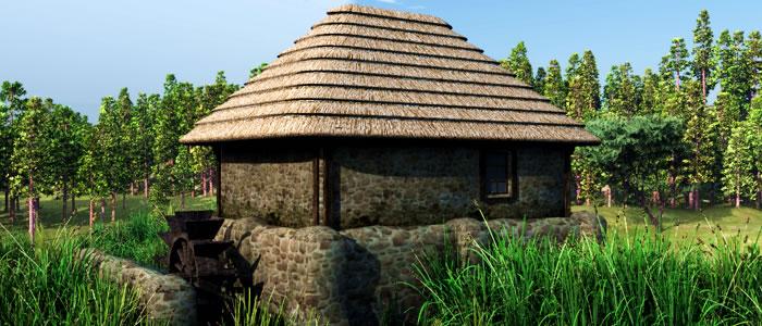 Medieval Ukraine Watermill 3D