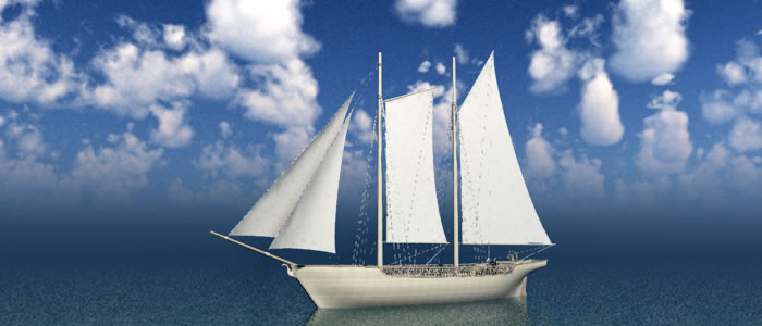 Elven Schooner 3D Fantasy Ship Model