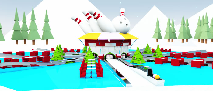 santa s open air bowling alley added to christmas village 15 3d