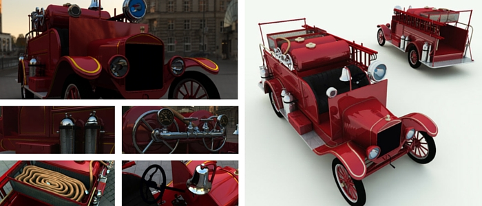 1926 Model T Fire Truck 3D Model from Meshbox