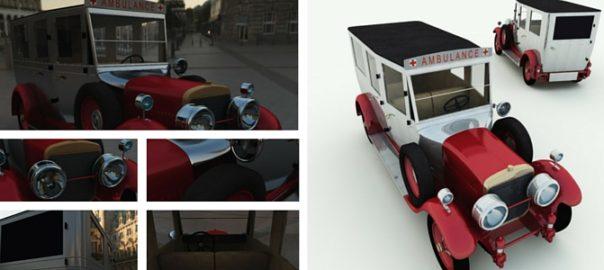 1926 Cunningham Ambulance 3D Model