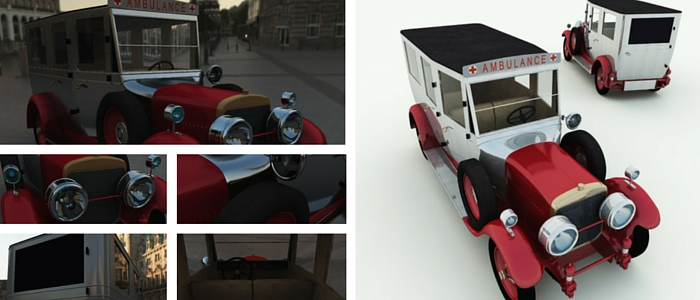 1926 Cunningham Ambulance 3D Model