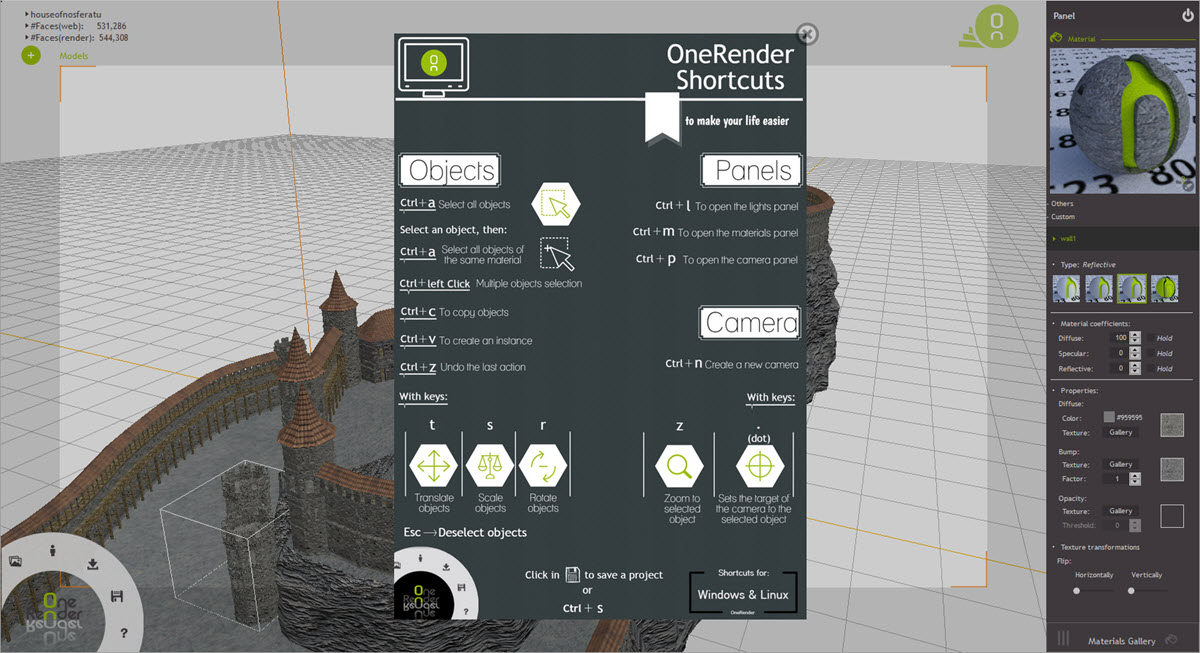 OneRender Shortcuts Dialog