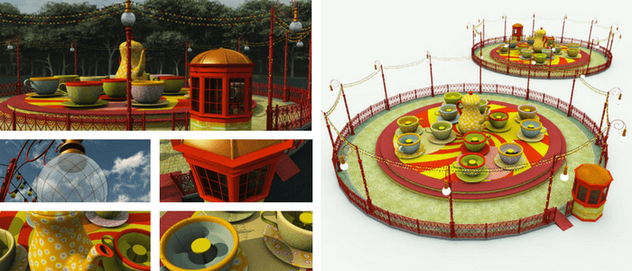 Tea Cups Ride 3D Model