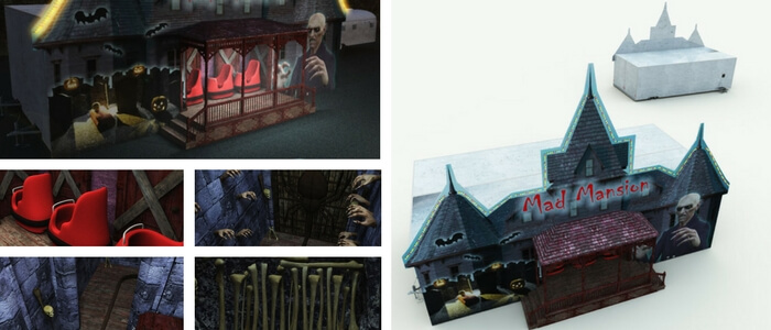 Haunted House Ride 3D Model for Poser, DAZ Studio, Vue, 3DS MAX