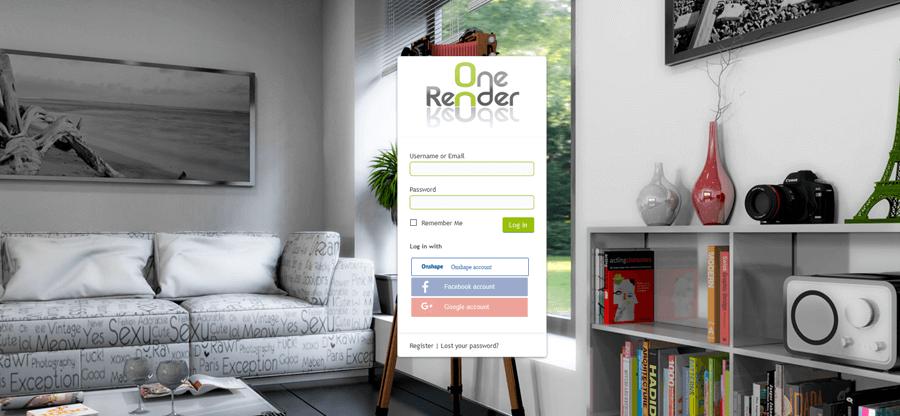 OneRender Log in Screen