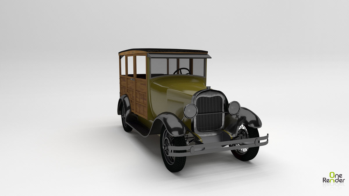 Model 150A Woodie Station Wagon Rendered in OneRender