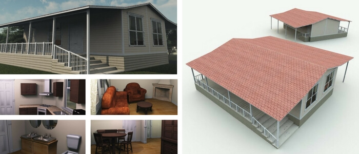 Double Wide Mobile Home 3D Model