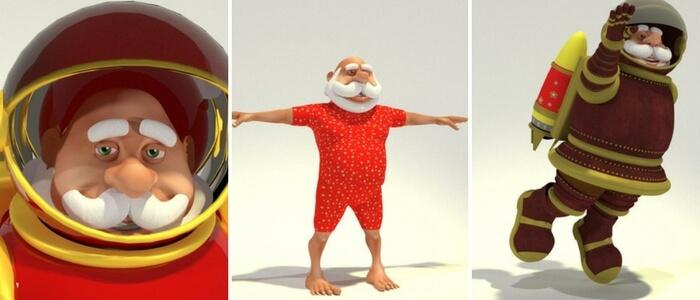 Toon Santa 17 is 1950s Raypunk Santa